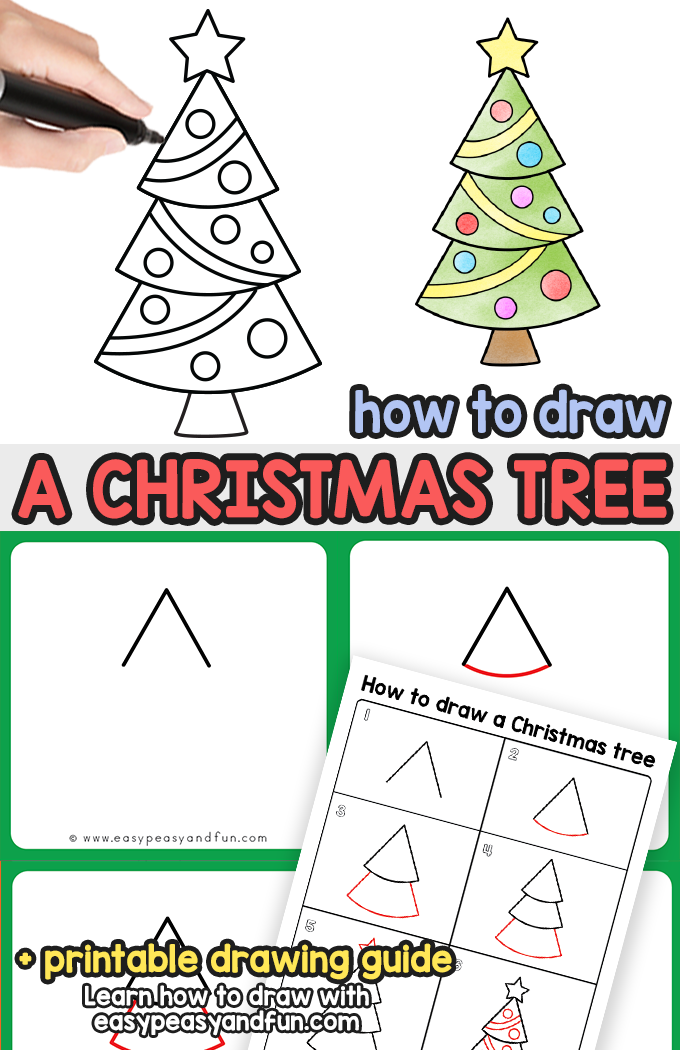 How To Draw A Christmas Tree Step By Step Drawing Tutorial Easy Peasy And Fun Christmas Tree Drawing Easy Christmas Drawings Christmas Tree Drawing Easy