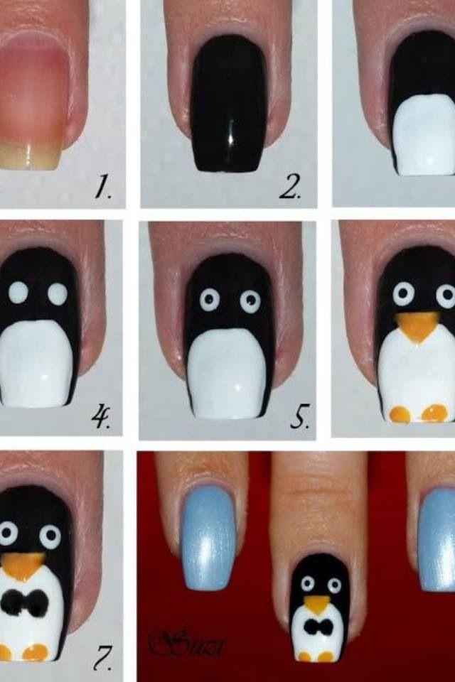 Penguin Tutorial Nail Art Nails Nailart Diy