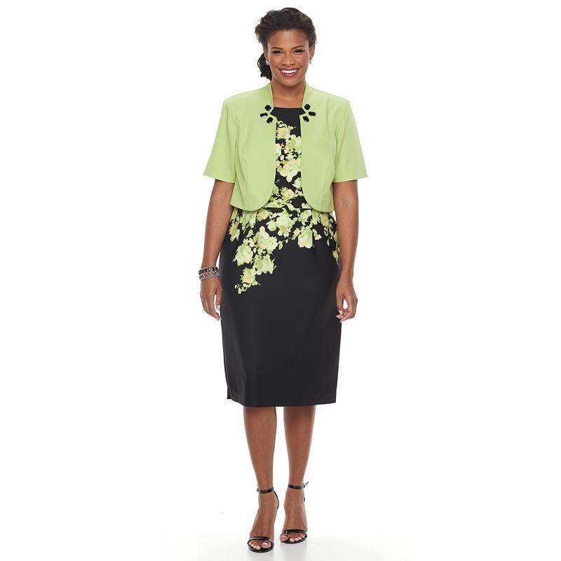 Plus Size Maya Brooke Floral Sheath Dress & Embellished Jacket Set, Green