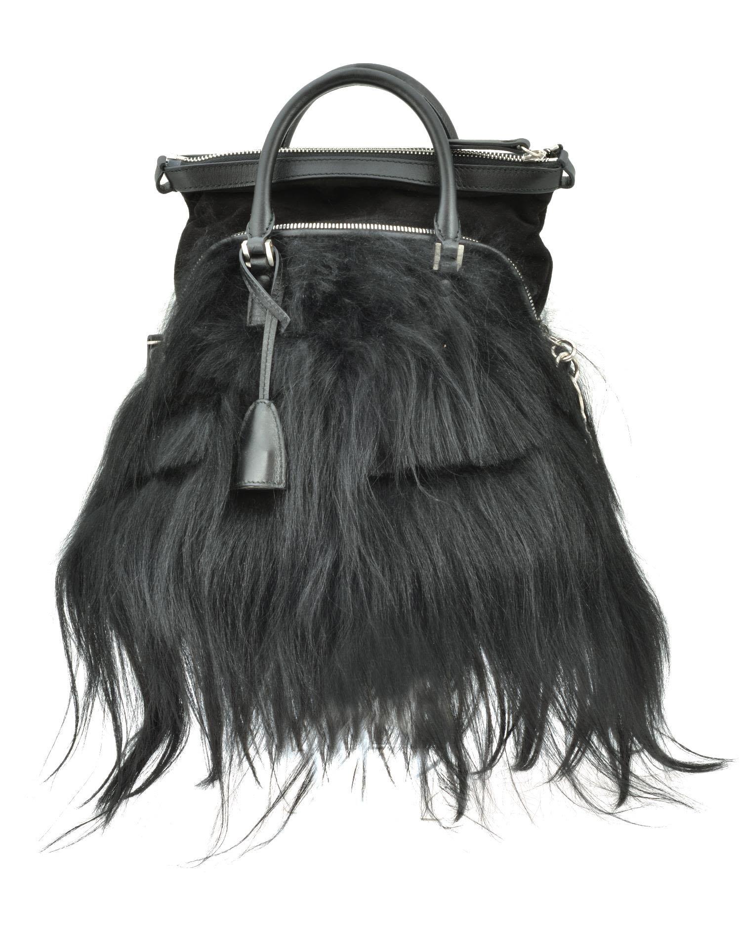 Maison Margiela Miniature 5ac In Goathair In Black Modesens Fur Bag Maison Margiela Fur