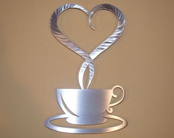 I Love Coffee Metal Wall Art Coffee Sign Kitchen Art Coffee