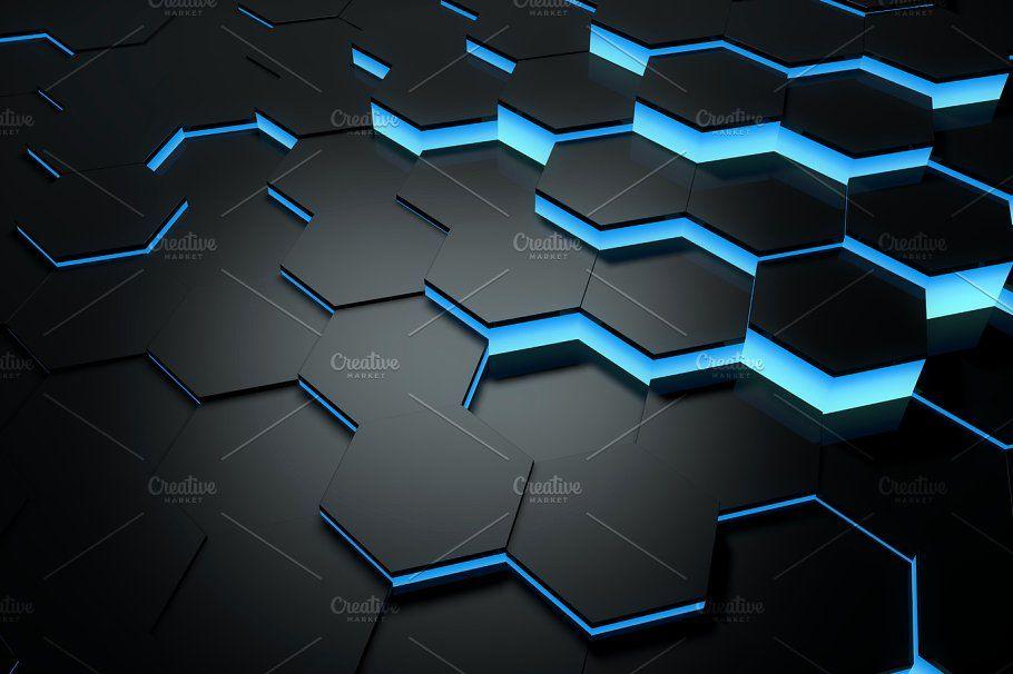 Glowing Blue Hexagon Background Hexagon Background Hexagon Design Hexagon Blue and black hexagon wallpaper