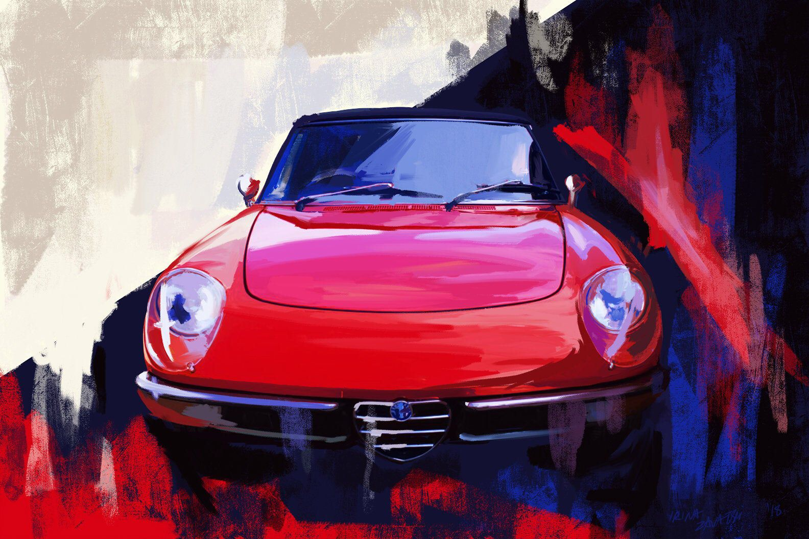 1967 Alfa Romeo Spider Classic Car painting.  large wall decor | Etsy