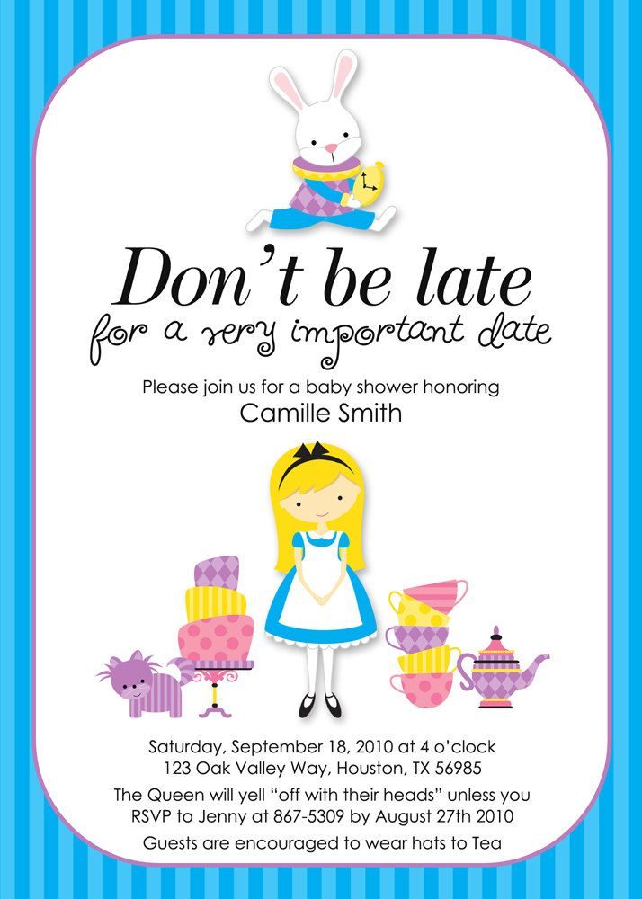 Alice in Wonderland Invitations Baby Shower / Bridal Shower Invites ...