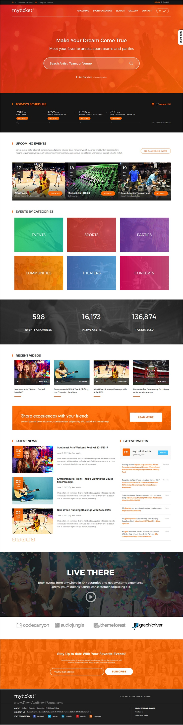 MyTicket is clean and modern design responsive WordPress theme for