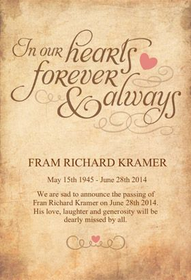 In Our Hearts Forever Memorial Card Template Free Greetings Island Funeral Invitation Memorial Cards Memorial Announcement