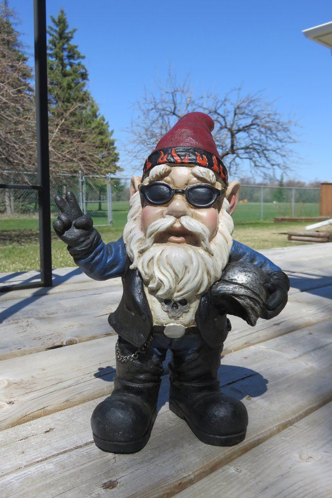 Biker Gnome Motorcycle Rider Garden Decor Lawn Ornament Johnnyleseedhomeandyard