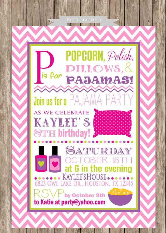 Pajama Party Birthday Invitation Slumber Party Sleepover Girls