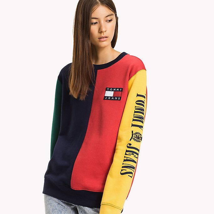 5e9177c3510a9 HILFIGER DENIM Fleece Colour Block Sweatshirt - PEACOAT   MULTI - HILFIGER  DENIM Hilfiger Denim - main image