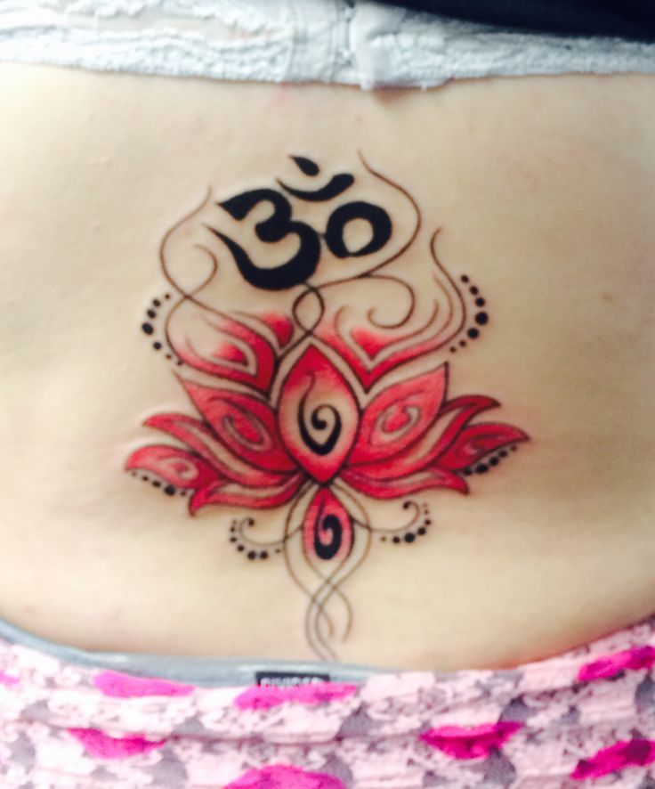 Pink Lotus Flower Lower Back Tattoo Ohm At The Top Represents
