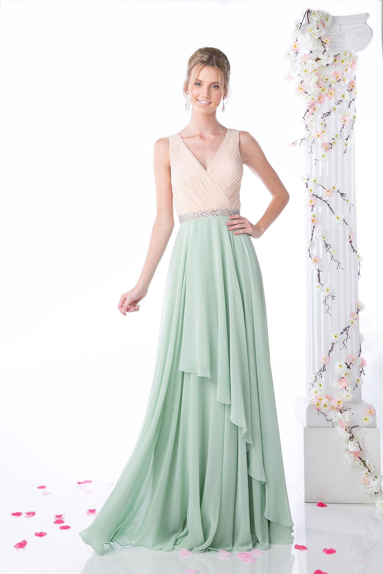 Talula Bridesmaid Dress - V-neck two-tone, long chiffon bridesmaid ...