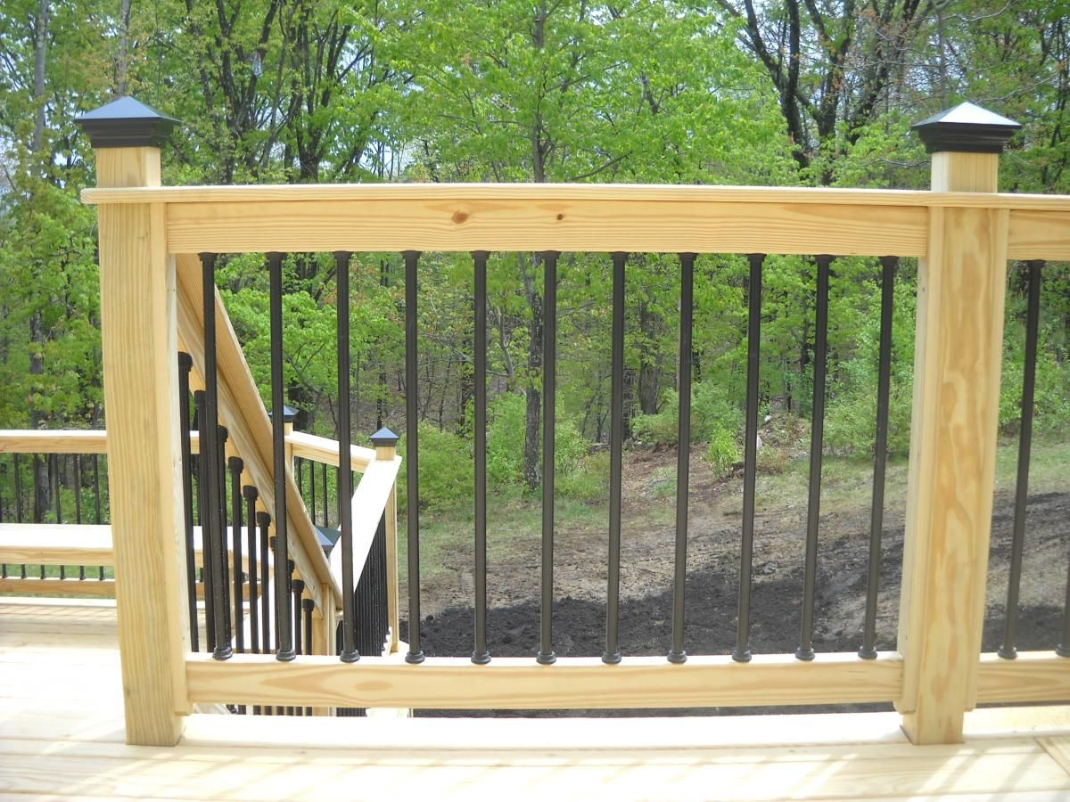 Pressure treated wood deck railing see plenty deck railing for Pressure treated decking