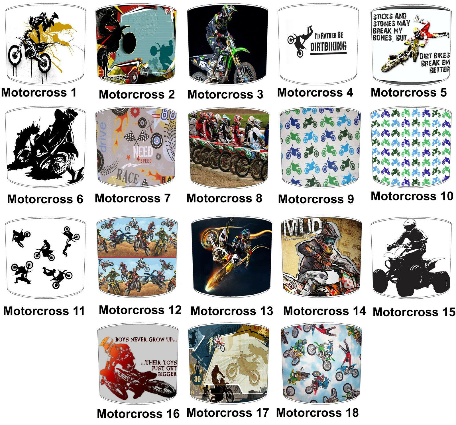 Details about Motocross Lampshades Ideal To Match