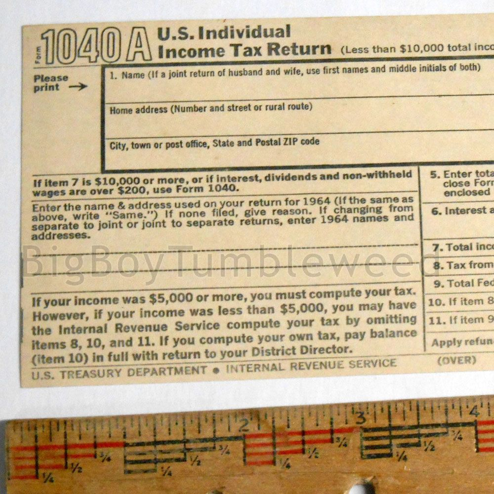 Vintage paper print irs 1040a individual income us tax return form vintage paper print irs 1040a individual income us tax return form 1965 blank falaconquin