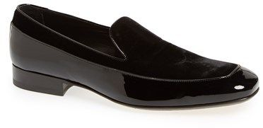 Jimmy Choo 'Rufus' Velvet & Patent Leather Loafer (Men), A fusion of soft velvet and shining patent leather defines a bold loafer with head-turning style.