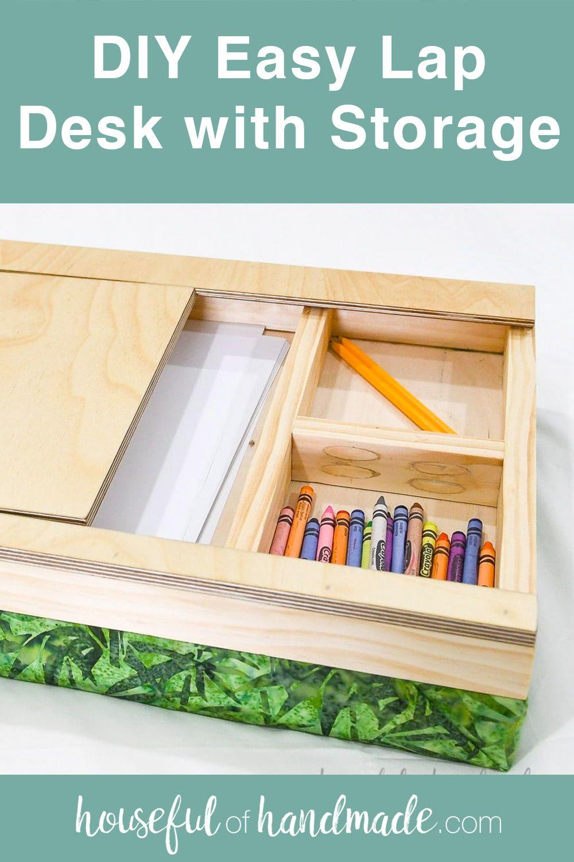 Easy Lap Desk With Storage Diy Gift Idea In 2020 Lap Desk With Storage Lap Desk Desk Storage