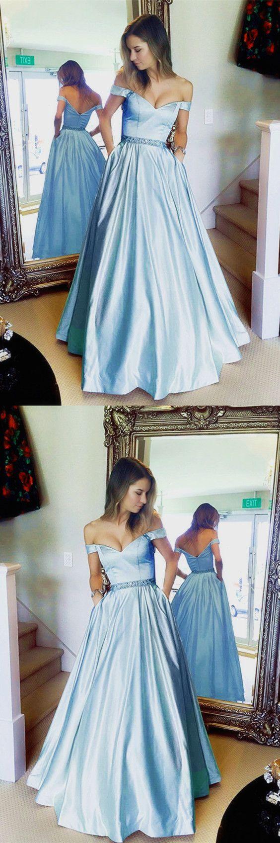 Baby blue prom dresses long satin vneck off the shoulder evening