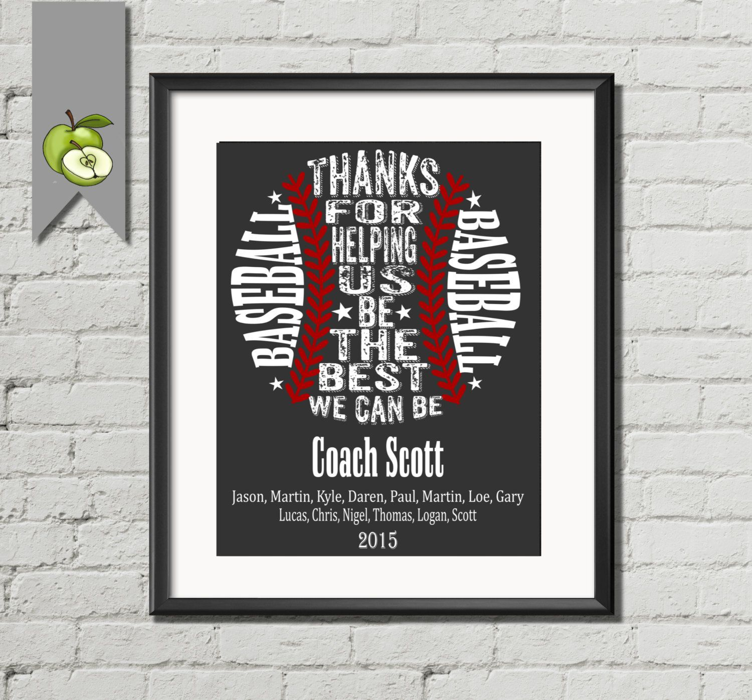 Baseball coach appreciation gift pe phyical by