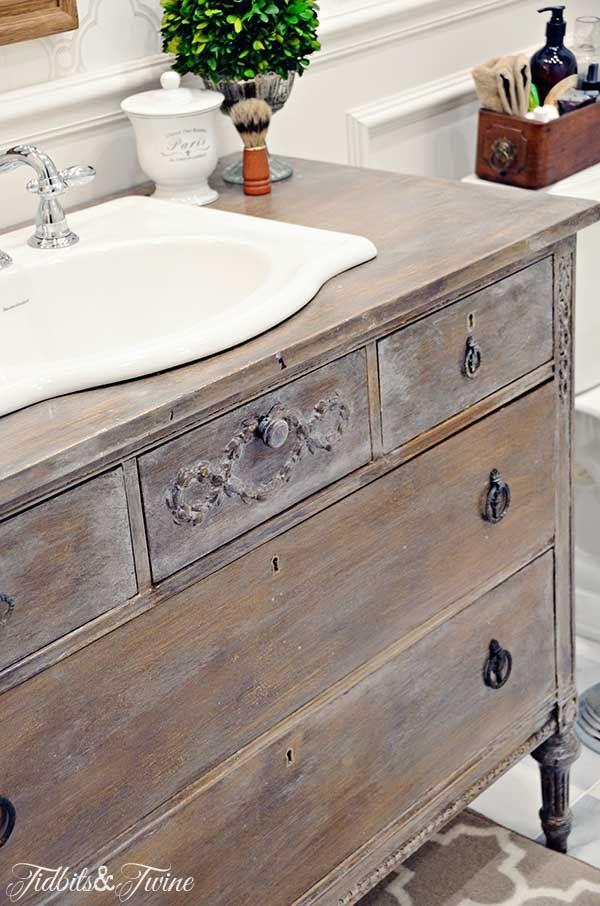 Bathroom Vanity From Dresser guest bathroom makeover {reveal} | dresser vanity, twine and dresser