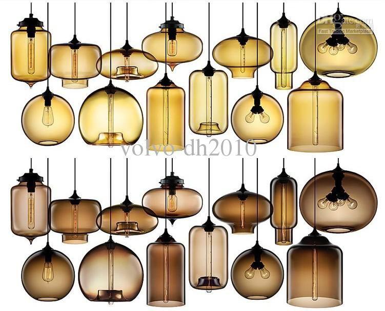 LLFA1156 Modern Art Niche Glass Pendant Lights Vintage Bulb Dining Room Bar Light
