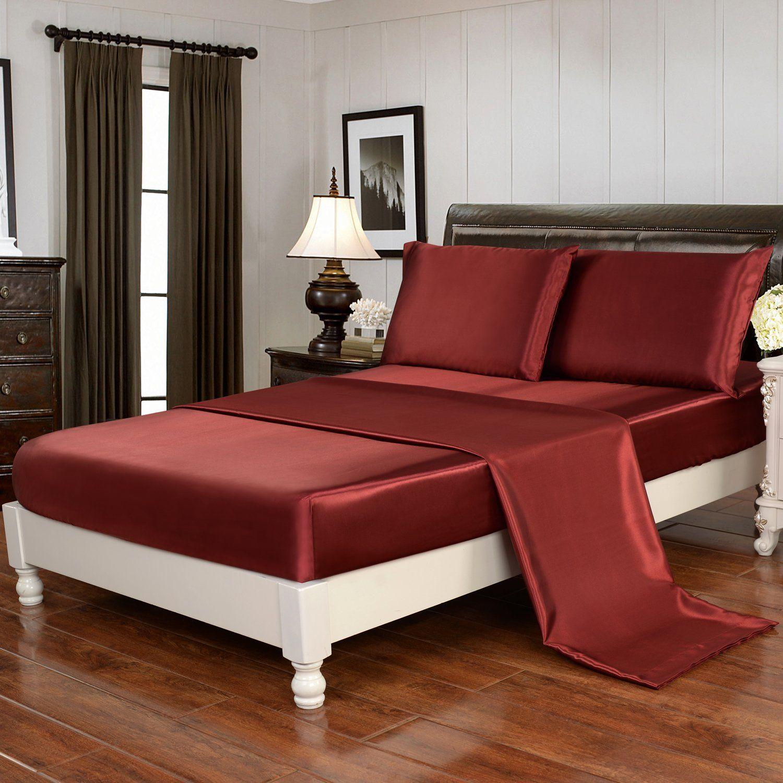 Amazon Silky Soft Luxury 4 Piece Deep Pocket Full Satin