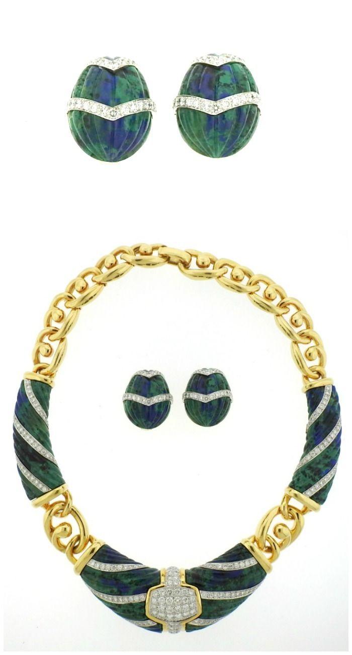 4f6c32f1b2a2c A 1980s azurite and diamond set in gold by David Webb. At Oakgem.