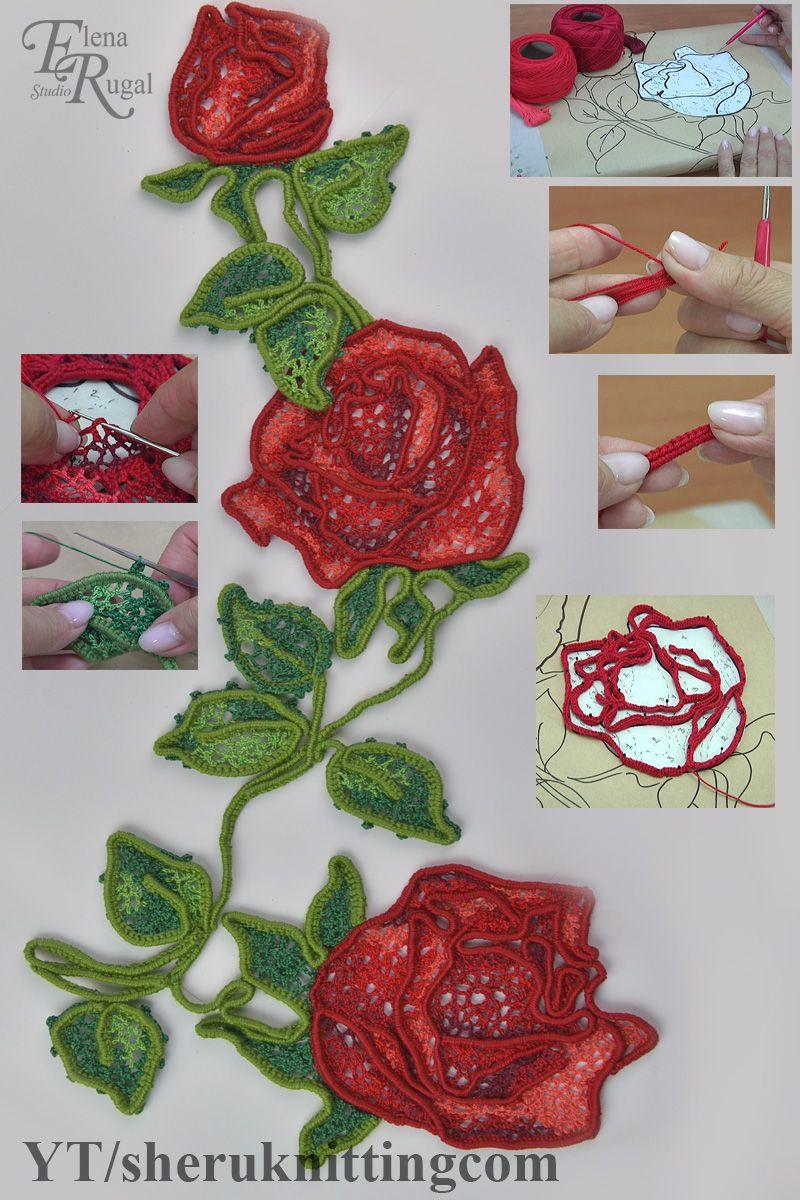 Crochet Irish Lace Rose Tutorial 92