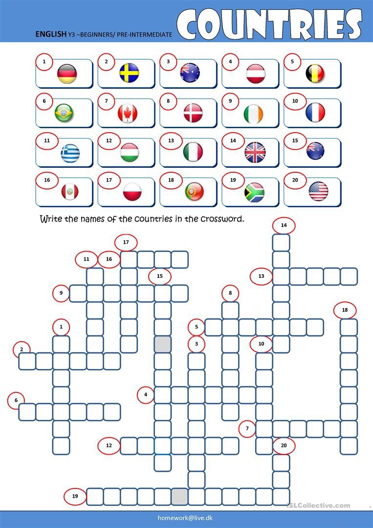 Countries Crossword worksheet - Free ESL printable worksheets made ...