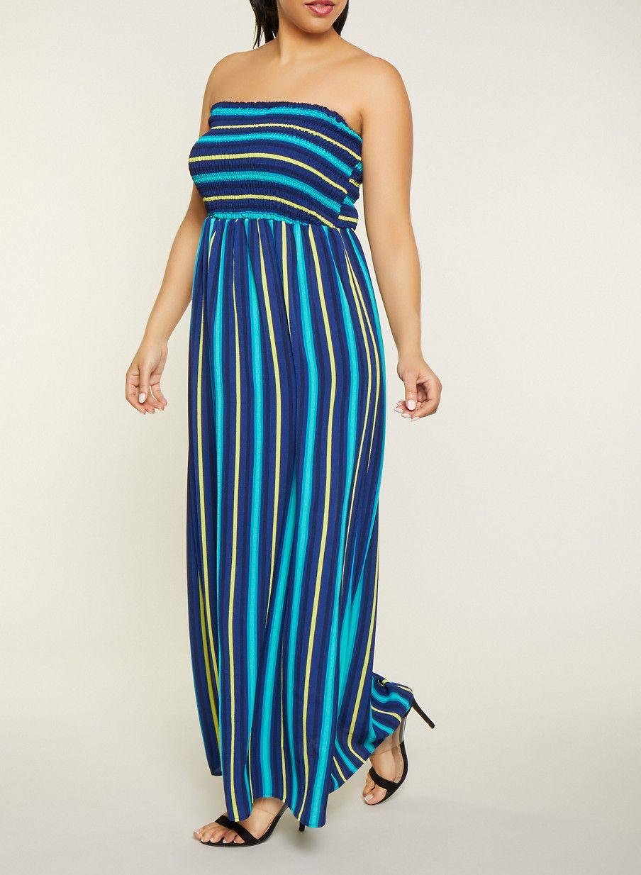 8d66048b2be Plus Size Striped Smocked Tube Maxi Dress - BLUE - Size 2X