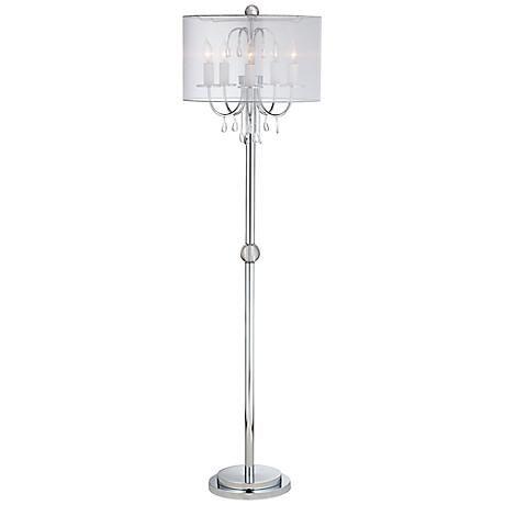 Kathy Ireland Sochi Silver Crystal Chandelier Floor Lamp 6n201 Lamps Plus Chandelier Floor Lamp Crystal Chandelier Floor Lamp