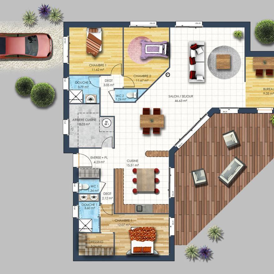 modèle plan maison en L Vendée Idee rangement Pinterest - Plan Maison Moderne  Chambres