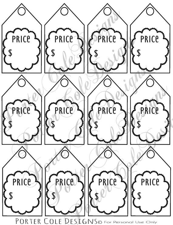 Price Tags Printable Digital File Tag Template Free Printable