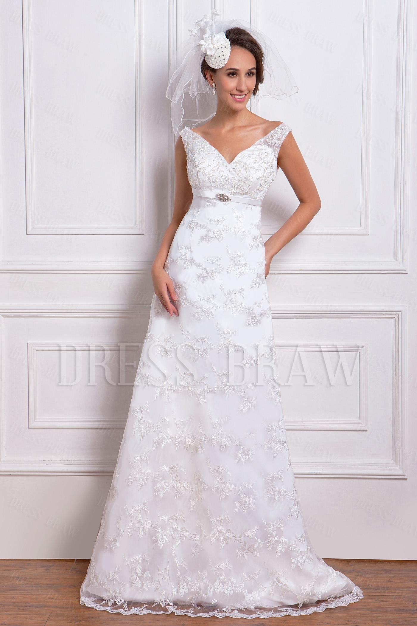 Amazing empire vneck chapel train lace miriamaus wedding dress for
