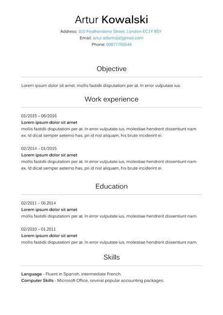 curriculum vitae wzor cv