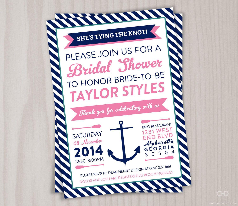 Nautical Bridal Shower Invitation, Printable Anchor Invite, Lingerie ...