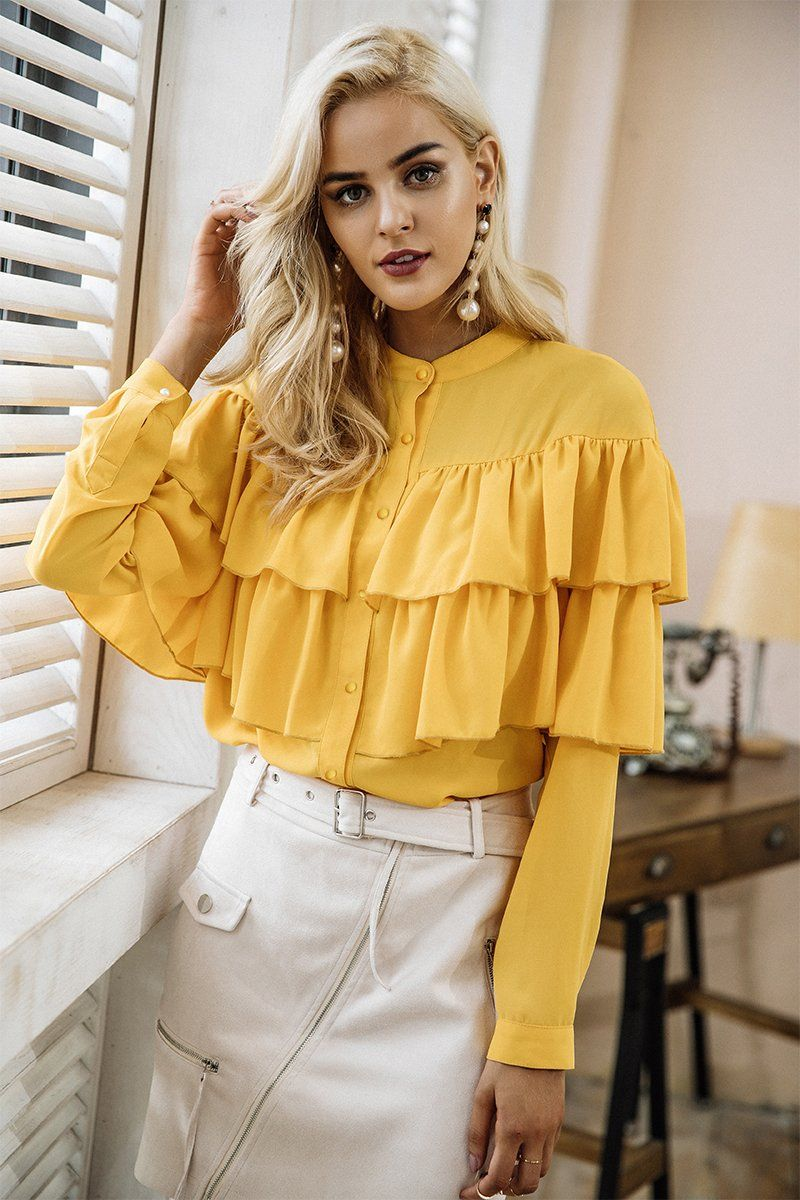 a1b1660b0dd90 Channel your inside Malibu Princess with this ultra chic mustard yellow  blouse. It features a