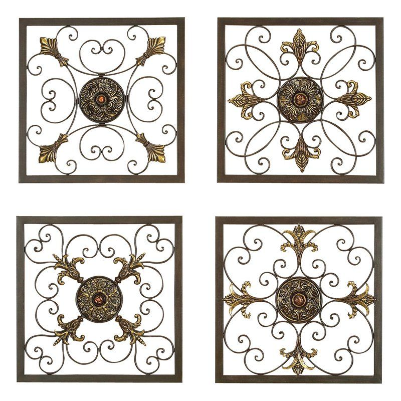 Aspire Home Accents Metal Wall Plaque Set Of 4