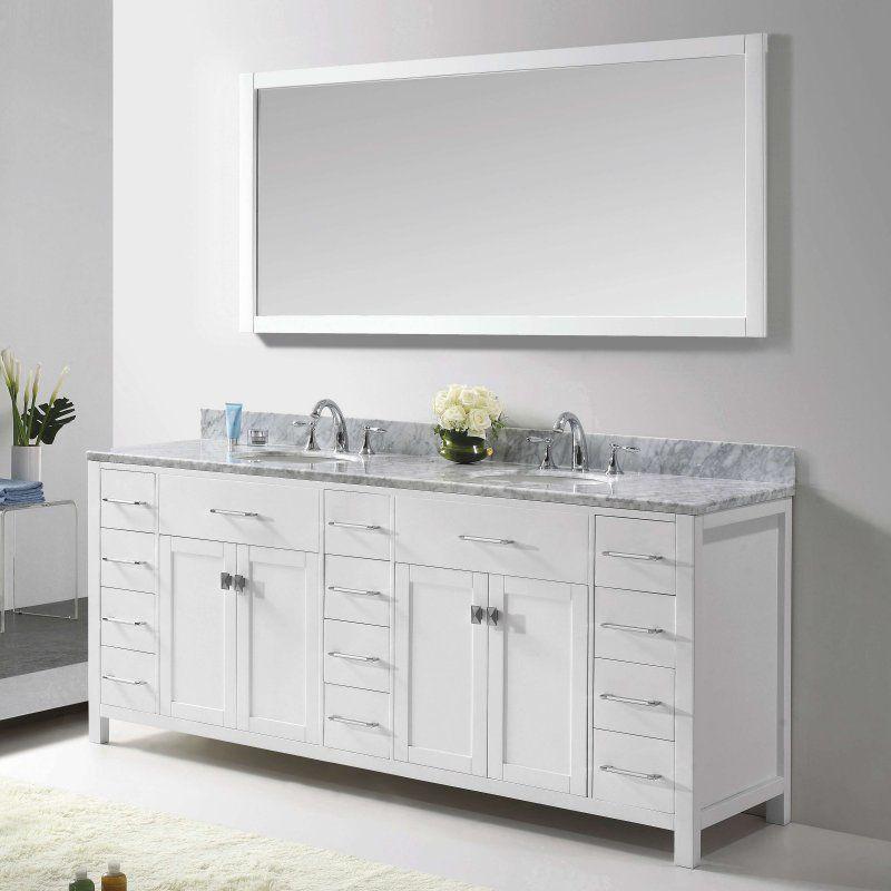 Virtu Caroline Parkway MD-2178 78 in. Double Bathroom Vanity with Round Sink - MD-2178-