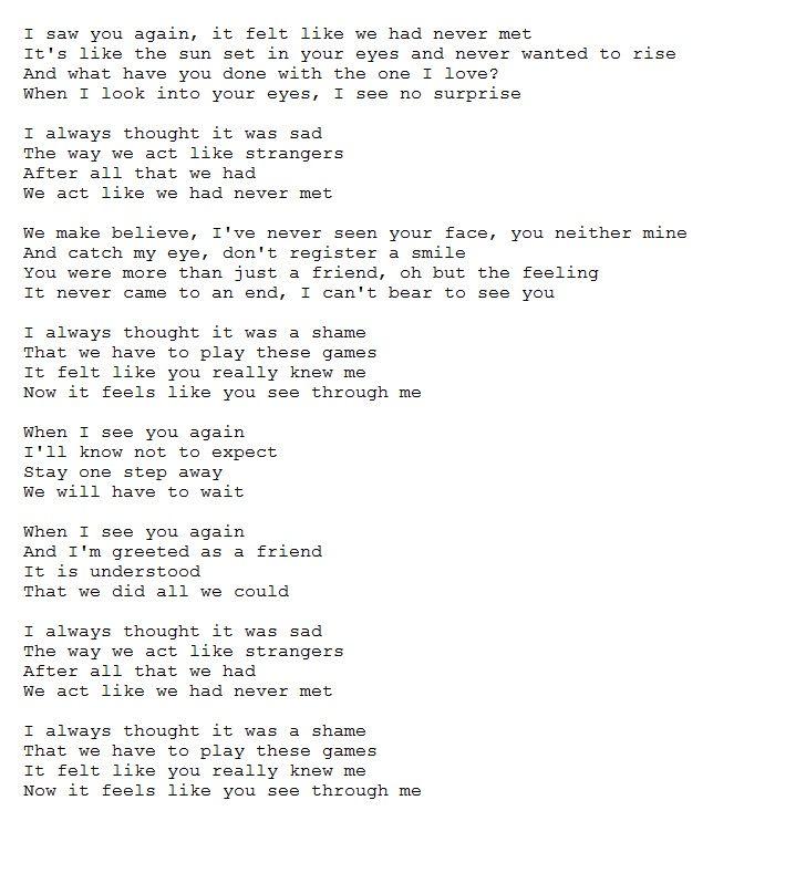 Now it feels like you see through me lyrics