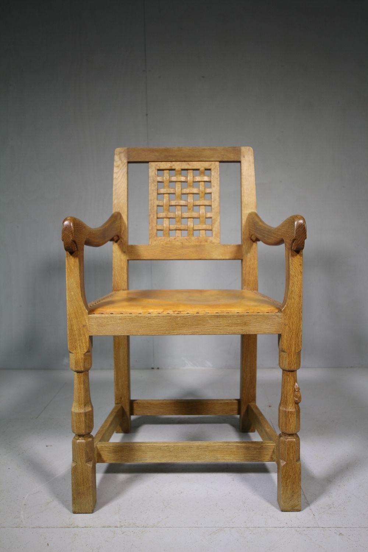 1960's Mouseman Oak Desk / Carver Dining Chair Chair
