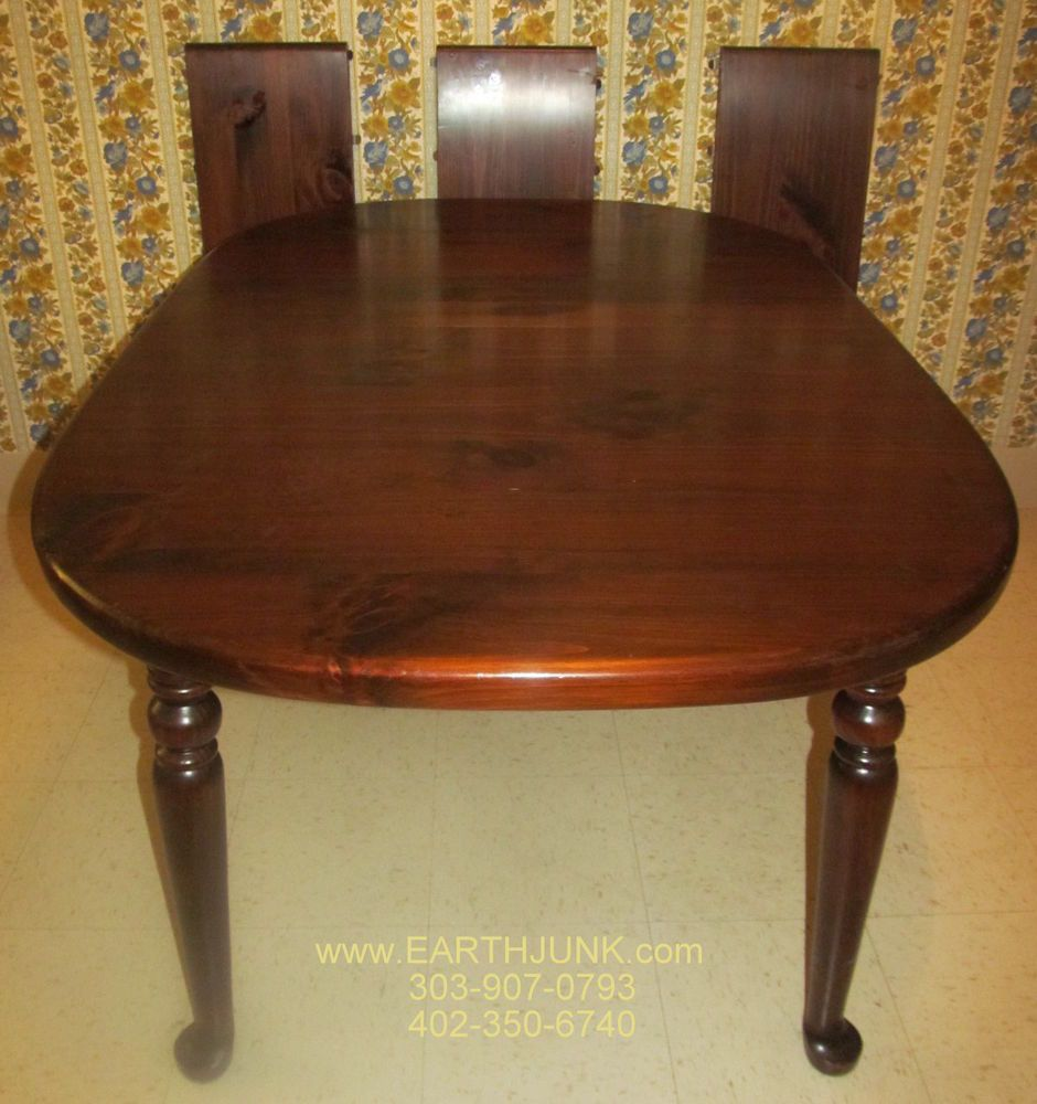 Ethan Allen Antiqued Tavern Pine Oval Spoonfoot Extension Dining