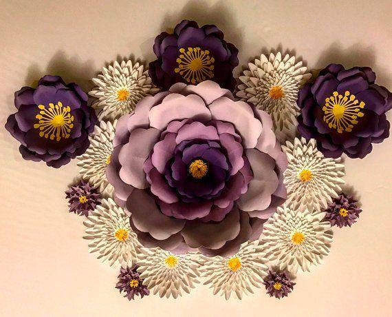 Huge Paper Flowers Set 16 Flowers Sale Custom Colors Elegant