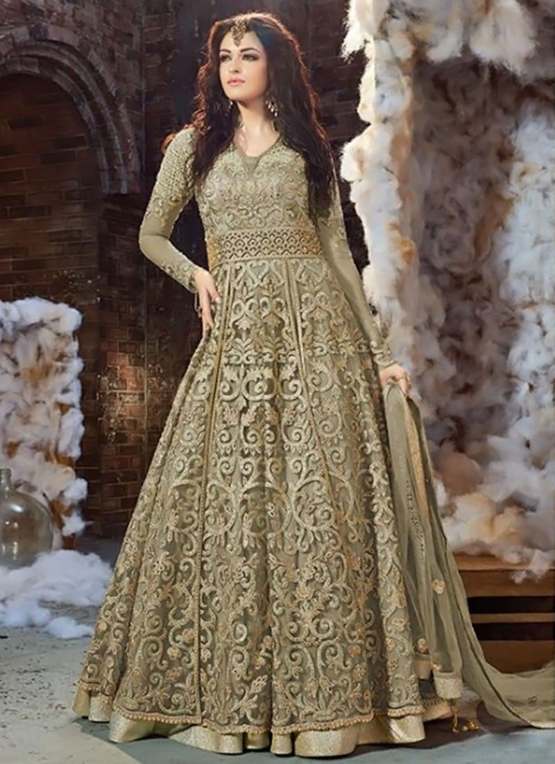 Light Green Net Layered Anarkali | Anarkali, Wedding dress and Weddings