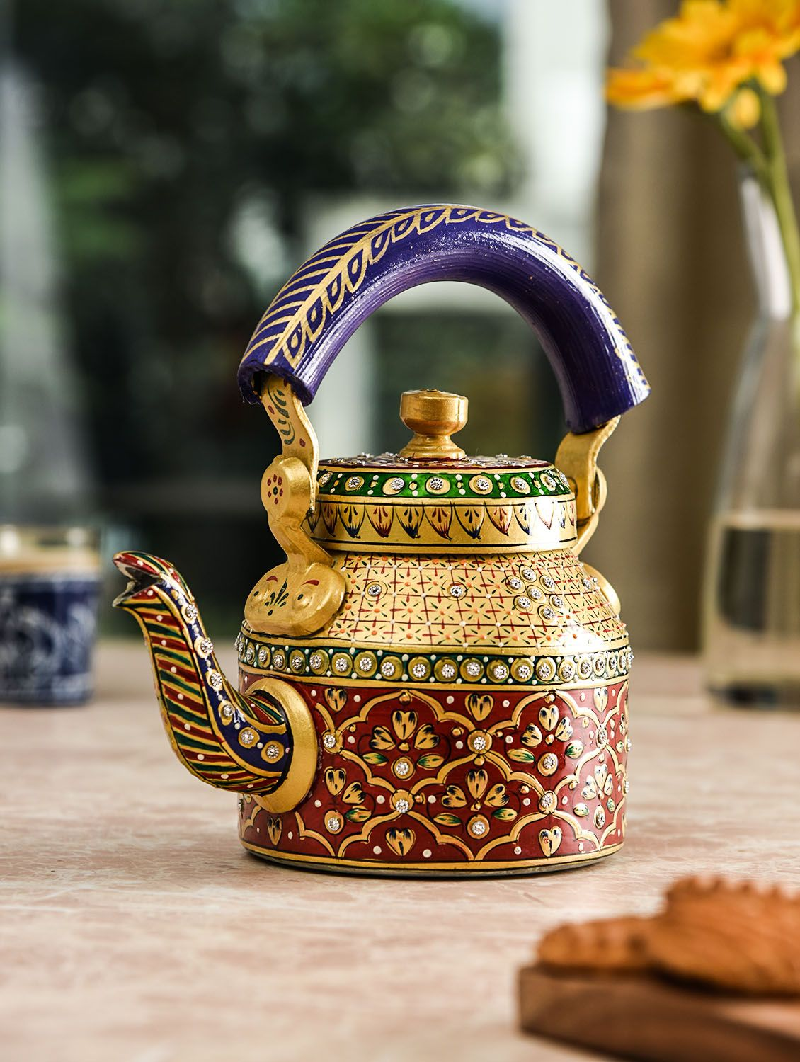 Handcrafted Kaushalam Crystal Teapot: Golden & Red #teapots