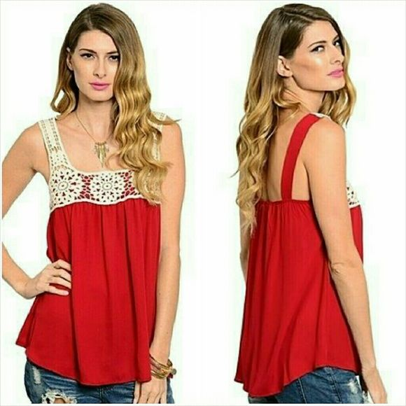 Crochet detail tank top blouse Small 7/8 NWT Trendy red tank top blouse with crochet detail. Polyester fabric with cotton crochet detail. Size Small  Fits ladies 7/8. Made in the USA. Not sheer or see through. Brand new with tag. Jill Marie Boutique Tops Tank Tops