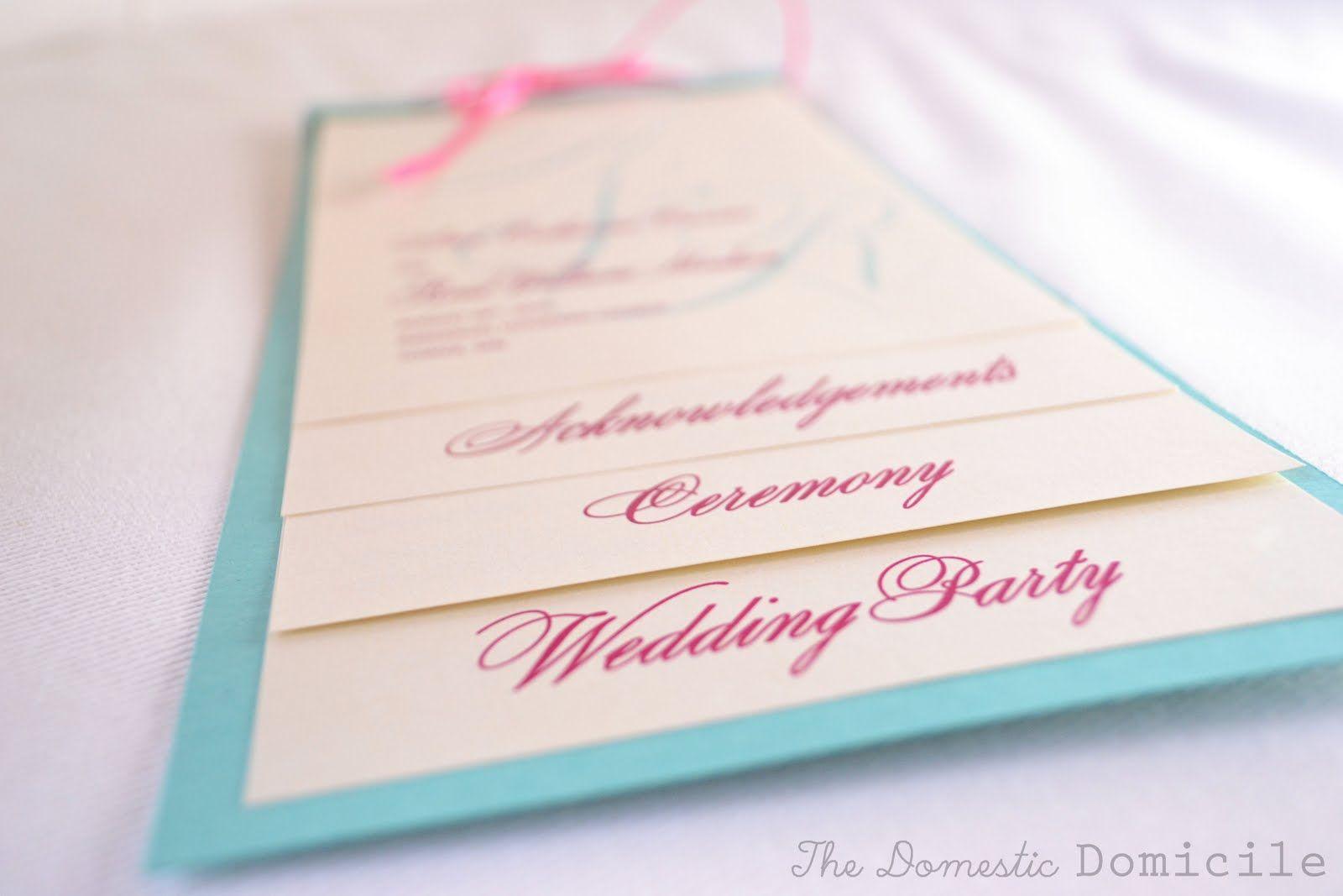 DIY Wedding Revisited: Program Templates |The Domestic Domicile ...
