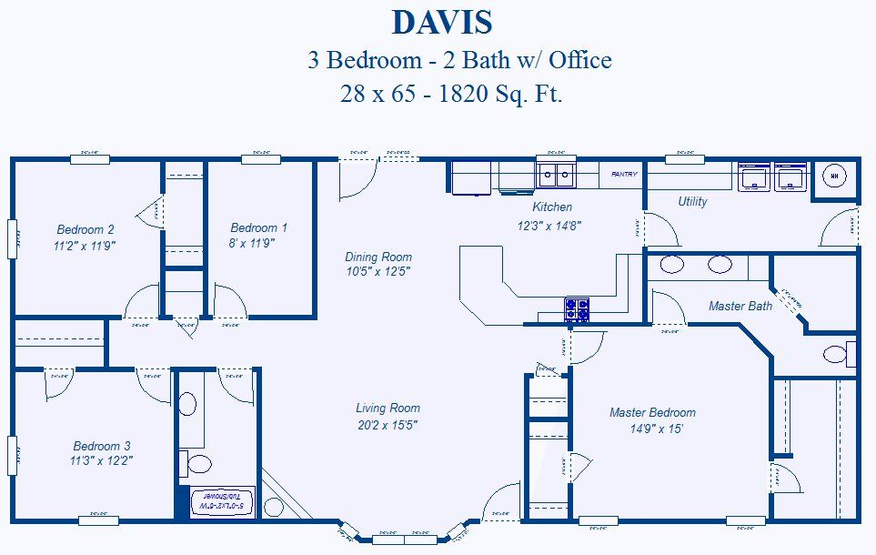 David 39 S Ready Built Homes 3 Bedroom Plans 3 Bedroom Plan Rectangle House Plans Metal House Plans