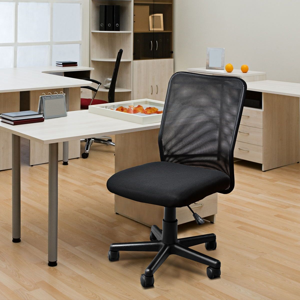 Silla de oficina de malla ergonómica ajustable con respaldo medio