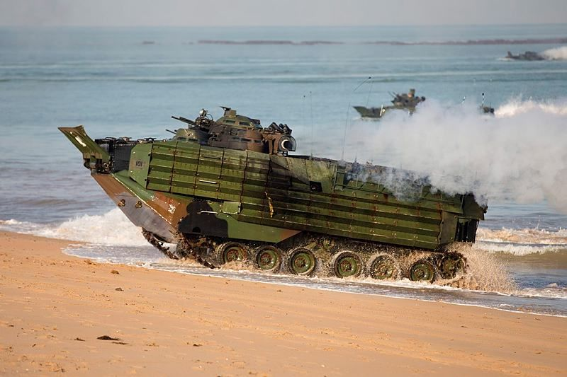 United States Marine Corps amphibious assault vehicles land at Fog Bay, in the Northern Territory, Australia, during the amphibious assault phase of Exercise Talisman Sabre 2015.