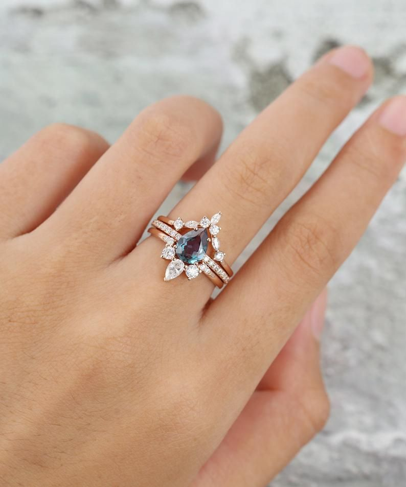 Alexandrite engagement ring rose gold pear shaped